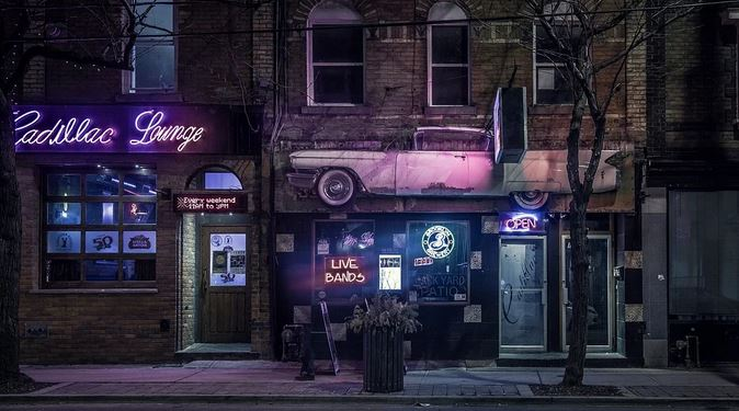 Business Lights at Night