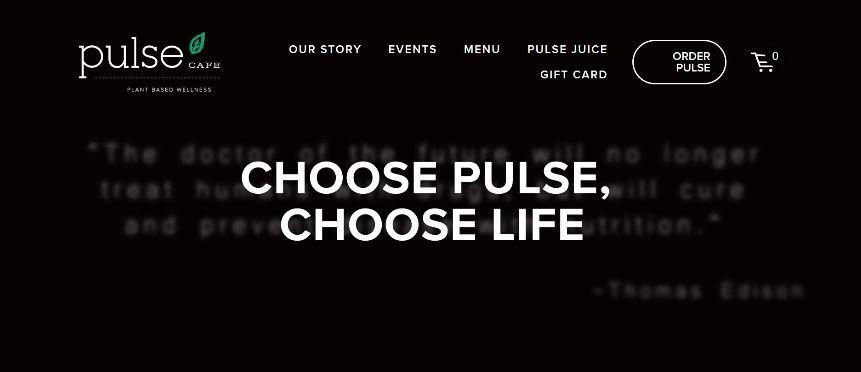 Pulse Cafe Website Snippet