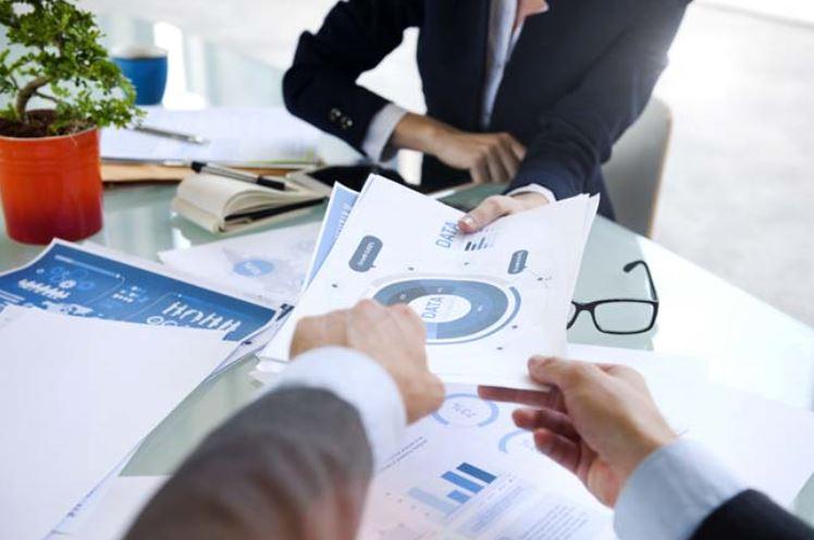 Man analyzing business information