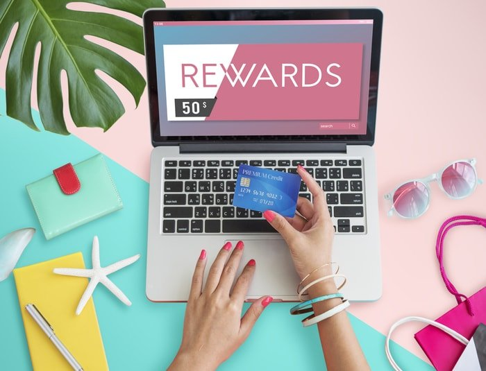 Woman claiming her rewards online