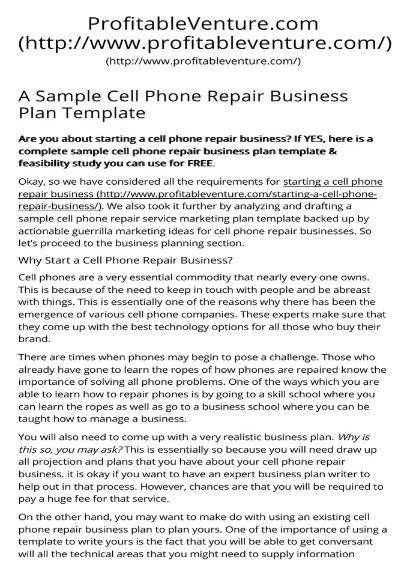 Cell Phone Repair business plan