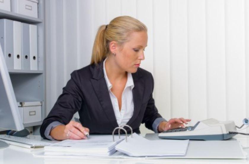 Woman organizing finances