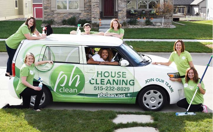 Branded cleaning vehicle