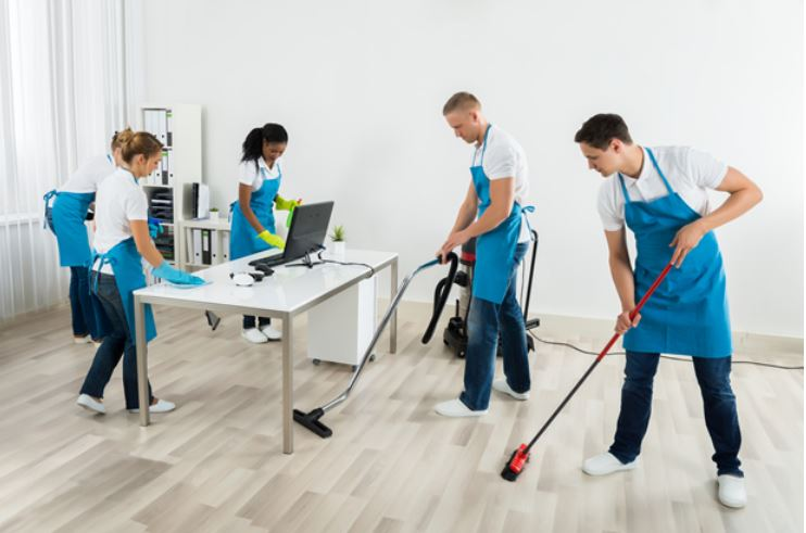 Cleaning crew at work