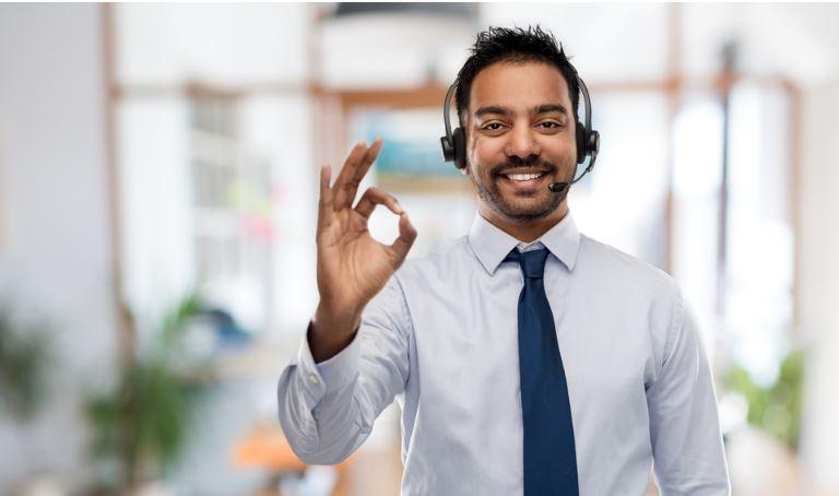 Man responding to customers