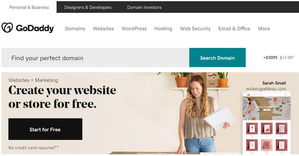 Screen shot of Godaddy website