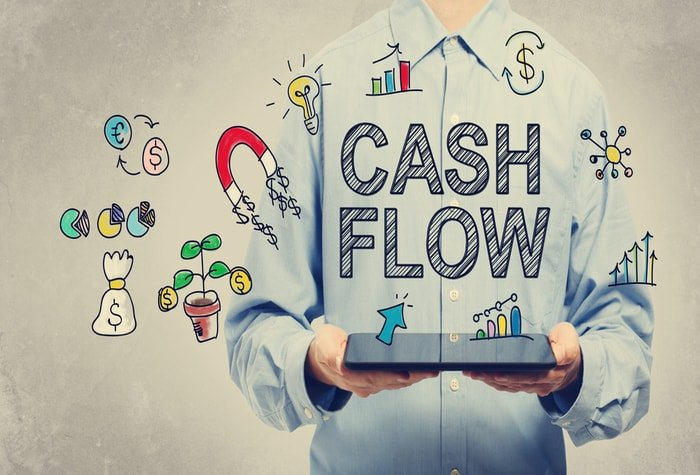 Man showing cashflow result