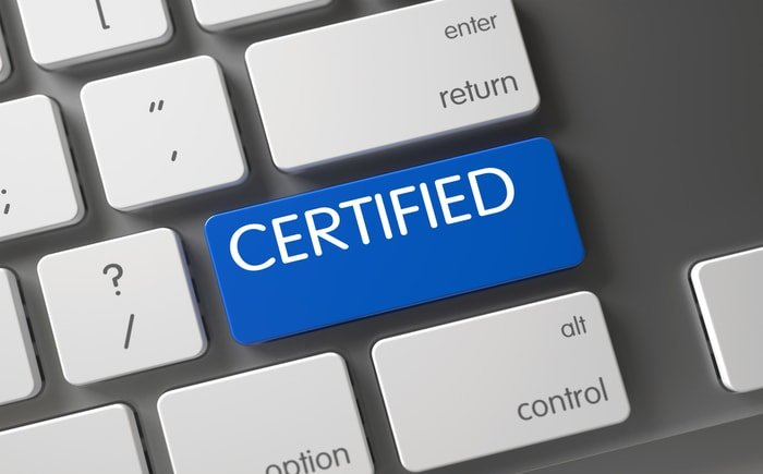 The word certified printed on the keyboard