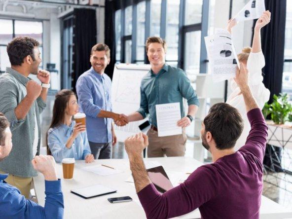 Men making a business deal
