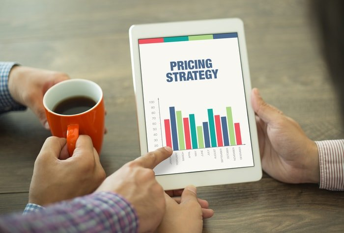 An iPad with graph about pricing strategy