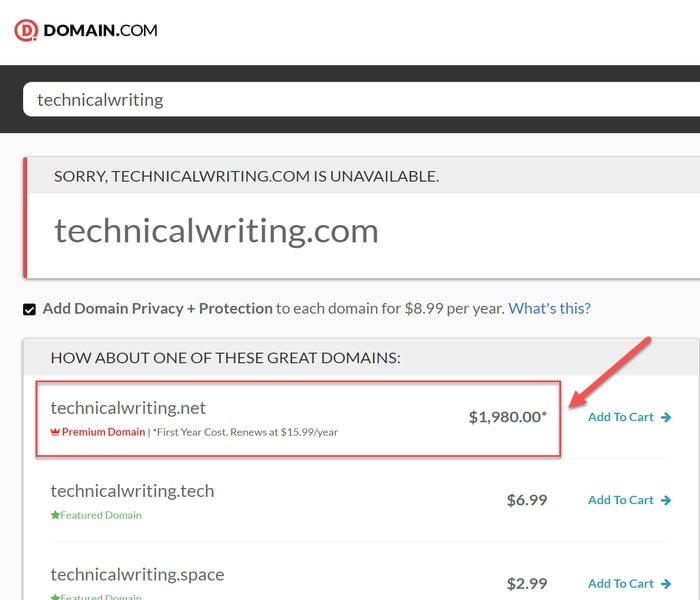 Choosing an available domain name for a website