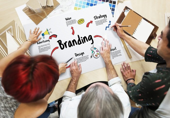 Designers creating a good branding for business