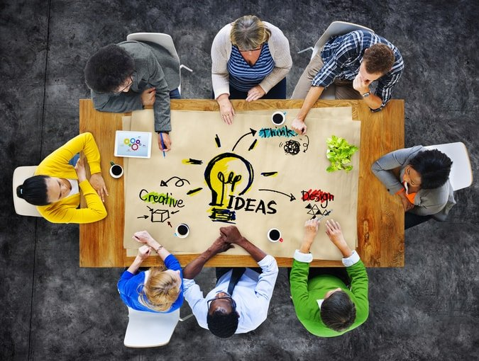 Employees creating great ideas for business